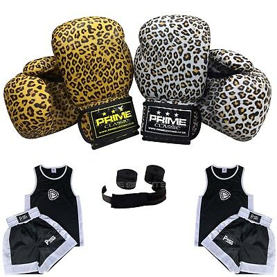 1016 Kids Boxing Uniform Set of 3 Pieces Uniform (3-14 Y) Gloves 4-6 OZ + Wraps