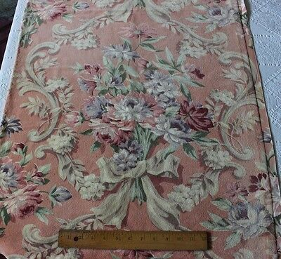 Vintage French Heavy Pink Roses & Bows Printed Home Dec Velvet c1930-1940