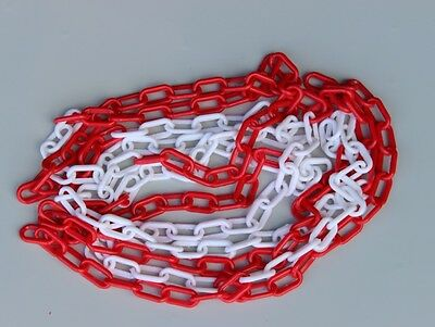 Plastic Safety Barrier Chain 5mm & 6mm 5 & 25 Meters Red White Black Yellow