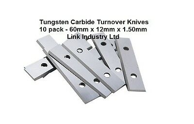 10 pces. 60 x 12 x 1.5mm CARBIDE REVERSIBLE TURN BLADES REVERSIBLE TIP KNIVES