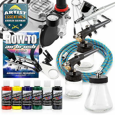 Airbrush Kit with 3 Guns - Gravity Siphon Feed Air Compressor 6 Color Set