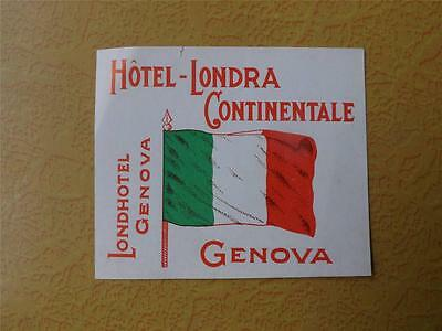 Luggage Label Hotel Londra Continentale Genovalondhotel Decal Suitcase Tag