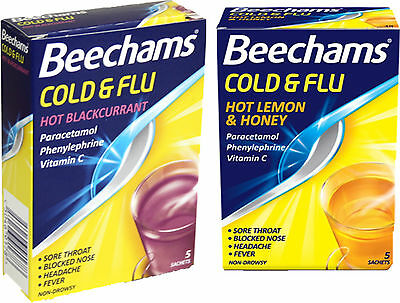 Beechams Cold & Flu Powder x2 TWIN PACK-Hot Lemon & Honey or Blackcurrant