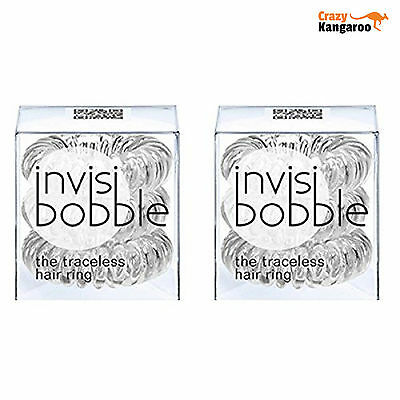Invisibobble Traceless Hair Ring - Crystal Clear - 2 x Pack of 3