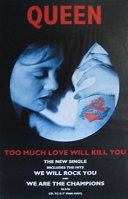 """40x60"""" HUGE SUBWAY POSTER~Queen 1995 Too Much Love Will Kill You Freddie Mercury"""