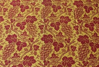 Rare French Provencal Resist & Block Print Grape & Leaf Toile Fabric c1820-30