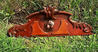 Antique Gorgeous Hand Carved Wooden Pediment Overdoor Ornamental Architectural