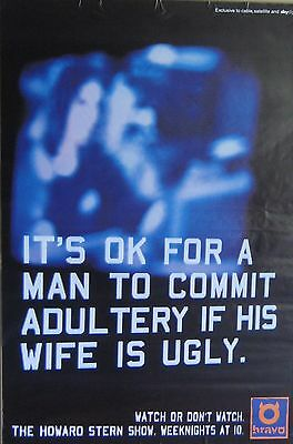 """40x60"""" HUGE SUBWAY POSTER~Howard Stern Show 1995 Commit Adultery if Wife is Ugly"""