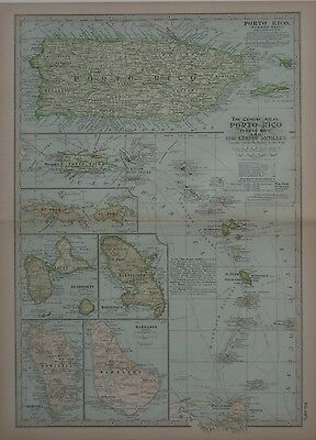 Original 1898 Map PUERTO RICO Lesser Antilles Virgin Islands Barbados Guadeloupe