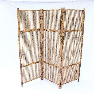 Antique Vintage Bamboo Screen Room Divider Rattan, Great Patina, OLD