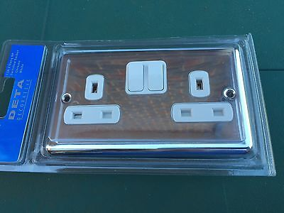 Chrome Double Plug Socket Switched white switches 2 Gang 13amp