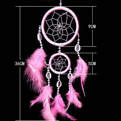 Pink Circular Dream Catcher With Feathers Wall Hanging Decoration Ornament Decor