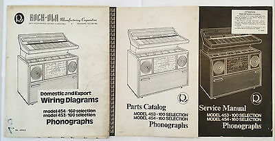 Jukebox Manuals Set Of 3 Rock-Ola Model 453-100 & 454-160 Parts Service Wiring