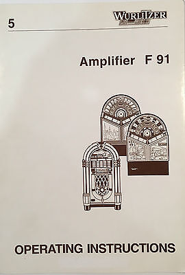 Jukebox Manual Wurlitzer Operating Instructions Amplifier F 91