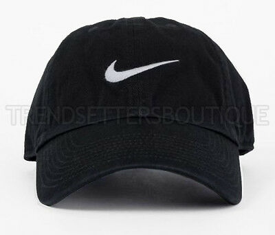 Nike Swoosh Cap Strapback Duck Beak Vintage Black 6 Panel Adjustable Buckle 43c70995dfd1