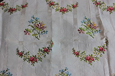 Gorgeous Antique French 18thC Brocaded Polychrome Silk Fabric~Dolls,Projects