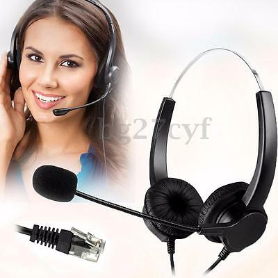 RJ11 Call Center Operator Noise Cancelling Wire Telephone Headset Headphone Mic