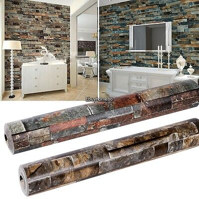 10M 3D Realistic Rustic Rusty Sand Stacked Brick Stone Rock Roll Wallpaper