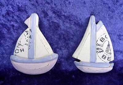 Beach Theme Fridge Magnets Set Of Two Sail Ships Nautical Decor Set -  Magnet