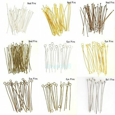 Silver Golden Head/Eye/Ball Pins Finding 21 Gauge Lots Color and Style 100 Pcs