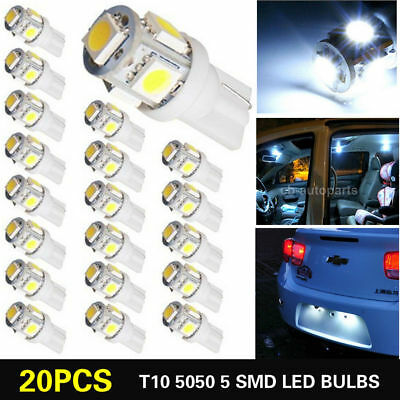 Bright 20x T10 5050 W5W 5 SMD 194 168 LED White Car Side Wedge Tail Light Lamp