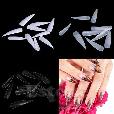 10/50/100pcs Stiletto Pointed False French Acrylic Artificial Fake Nail Art Tips