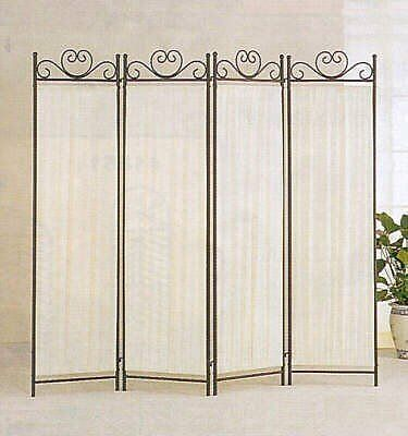 brand new coaster 4 panel elegant room divider screen ivory fabric metal frame