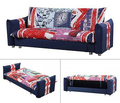 Modern Cool Great Britain Union Jack 3 Seater Fabric Sofa Bed With Storage