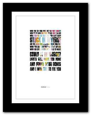 COLDPLAY - Fix You ❤ song lyrics poster art limited edition typography print #6