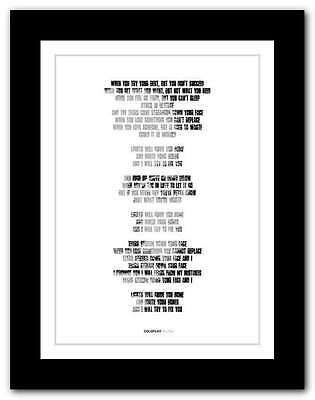 ❤ COLDPLAY Fix You ❤ song lyrics poster art limited edition typography print #8