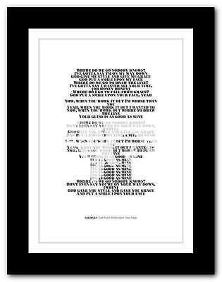 ❤ COLDPLAY - God Put A Smile Upon ❤ song lyrics poster art typography print #10