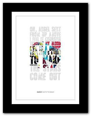❤ COLDPLAY  Hymn For The Weekend ❤ song lyrics poster art typography print #11