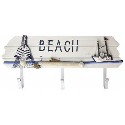 fishing boat beach coat hook with 3 coat hooks and metal hangers 40cm wide 78035