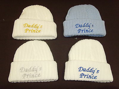 Baby Knitted Wool Embroidered Personalised Hat With Saying Daddy's Prince