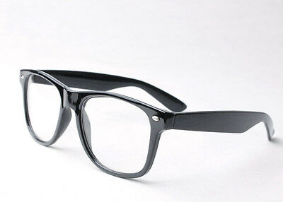 Black Clear Lens Glasses Wayfarer Fancy Dress Nerd Geek Rave Party Novelty Gift