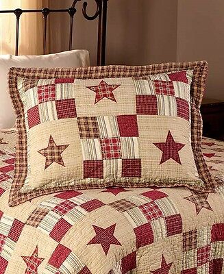 Nostalgia Red Patchwork Shams Set of 2 Country Star Vintage Looking Bed Decor