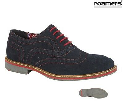 Mens Roamers Suede Leather Brogue Shoes Navy Blue Red Stitching Size 7 - 12 UK