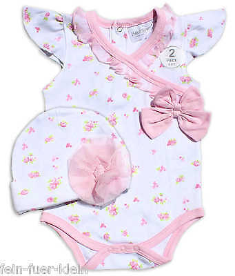 Baby Set, Sommer Kombination Body Jumpsuit + Mütze, Gr. 62, 68, 74, Party Feste