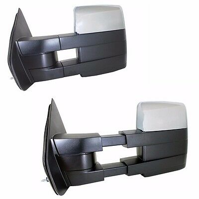 07-14 Ford F150 Pickup Chrome Towing Power Heated Pair Tow Mirrors Signal puddle