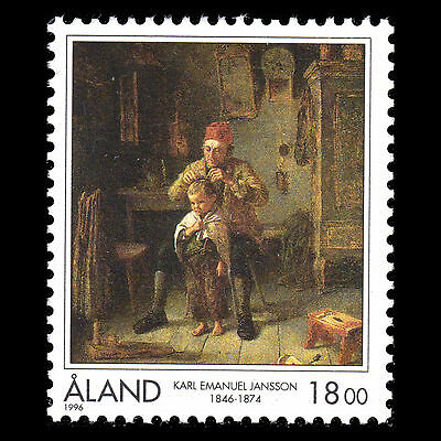 "Aland 1996 - Paintings ""Birth of Karl Emanual Jansson"" Art - Sc 129 MNH"