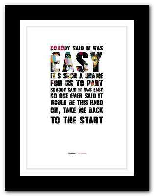 ❤ COLDPLAY - The Scientist ❤ song lyrics poster limited ed typography print #16