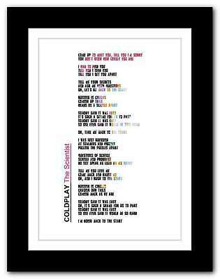 ❤ COLDPLAY The Scientist ❤ song lyrics poster art edition typography print #20