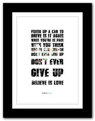 ❤ COLDPLAY Up & Up ❤ song lyrics poster art limited edition typography print #22