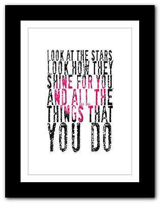 ❤ COLDPLAY yellow ❤ song lyrics poster art limited edition typography print #28