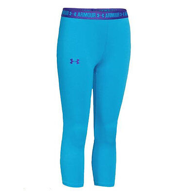 fc1042a8a4 NWT Youth Girls UA Under Armour UPF30 HeatGear Solid Fitted Capris Blue M L  XL