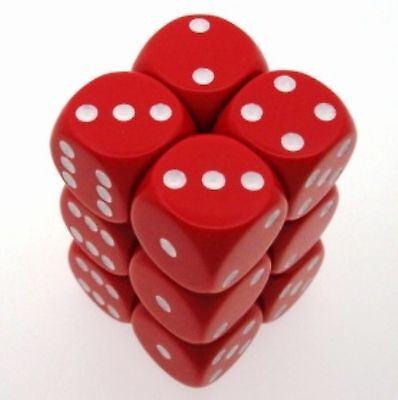 Set 12 d6 16mm dadi Chessex Opaque Red white 25604 Dice Block Opaco Rosso CHX