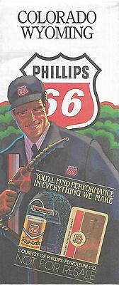 1984 PHILLIPS 66 Oil Company Road Map COLORADO WYOMING Denver Cheyenne Coke Ad