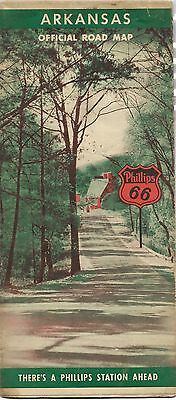 1941 PHILLIPS 66 Road Map ARKANSAS Ferry Crossings Airports Fish Hatcheries