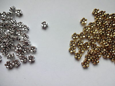 50/100 Bright Plated Tibetan Silver Daisy Flower Spacer Beads 5mm Double sided