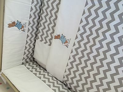 Beautiful peter rabbit  crib cot cotbed bumper set grey and white chevron